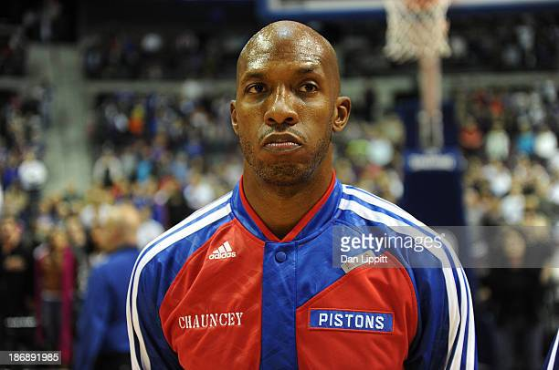 Chauncey Billuyps of the Detroit Pistons stands for the National Anthem against the Boston Celtics during the game on November 3 2013 at The Palace...