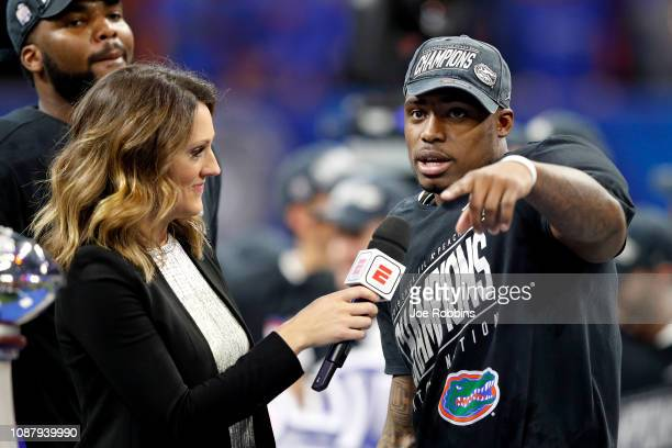 Chauncey GardnerJohnson of the Florida Gators is interviewed after his teams win over the Michigan Wolverines during the ChickfilA Peach Bowl at...