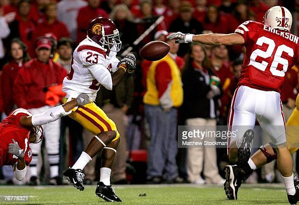 Chauncey Washington of the USC Trojans fumbles a kickoff against Dan Erickson of the Nebraska Cornhuskers on September 15 2007 at Memorial Stadium in...