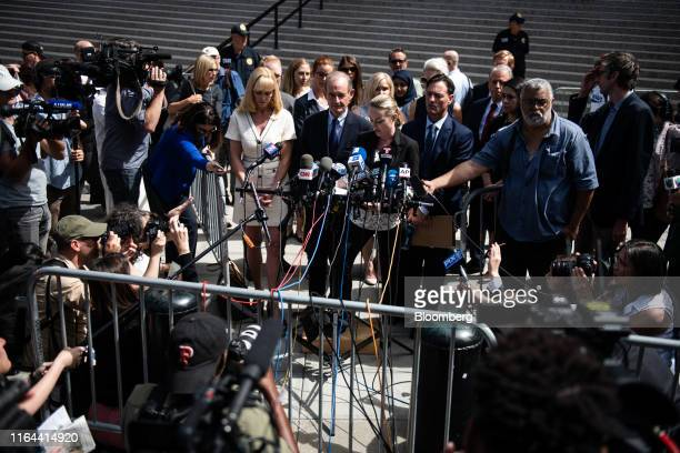 Chauntae Davies an alleged victim of Jeffrey Epstein center speaks to members of the media outside of federal court in New York US on Tuesday Aug 27...