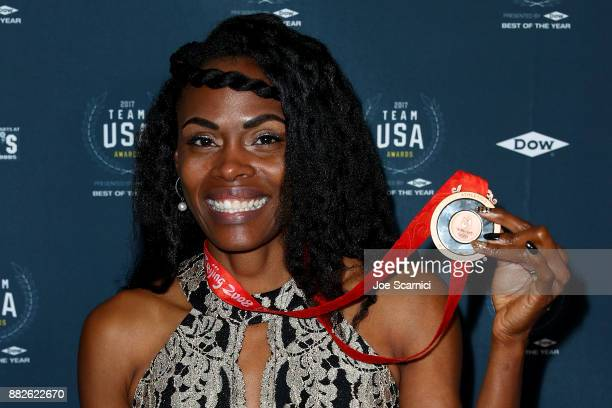 Chaunte Lowe attends the 2017 Team USA Awards on November 29 2017 in Westwood California Chaunte Lowe tonight received her Bronze Medal for finishing...