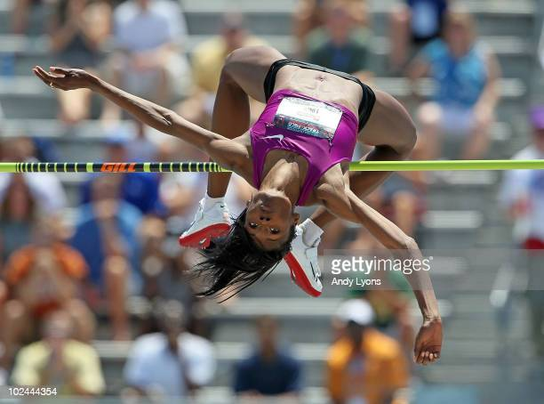 Chaunte Lowe leaps to an american record in the Womens high Jump during the 2010 USA Outdoor Track & Field Championships at Drake Stadium on June 26,...