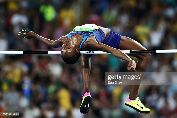 Chaunte Lowe of the United States competes in the Women's High Jump final on Day 15 of the Rio 2016 Olympic Games at the Olympic Stadium on August...