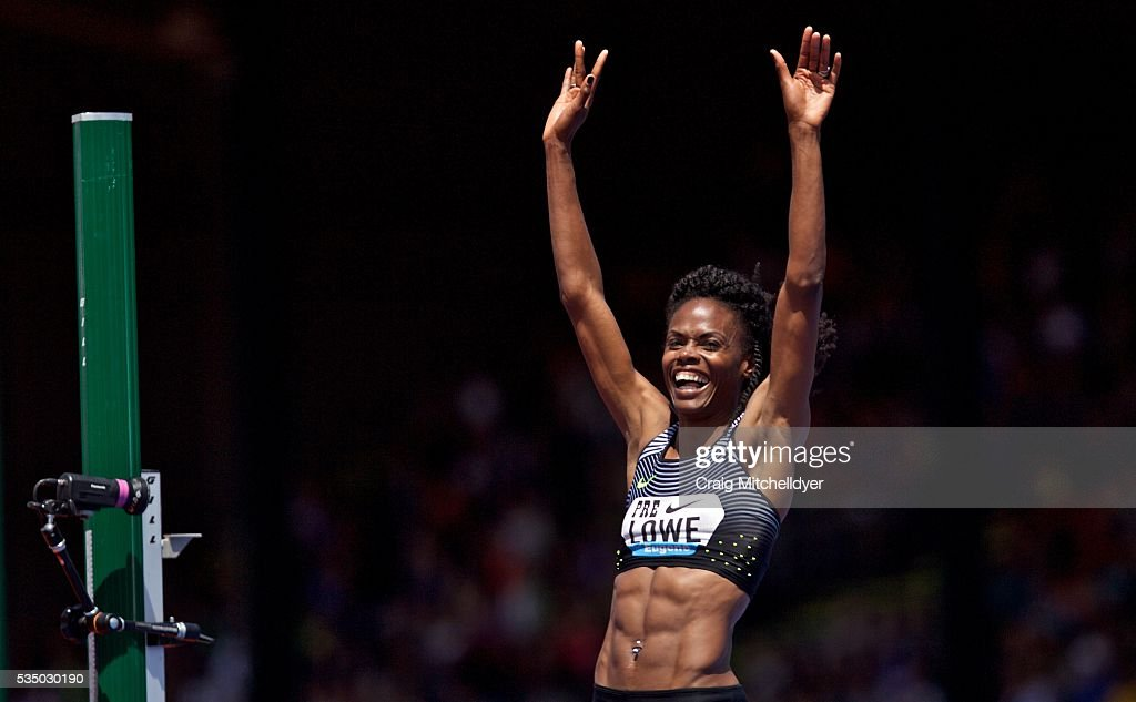 Chaunte Lowe of the United States reacts after winning the high jump at Hayward Field on May 28, 2016 in Eugene, Oregon.