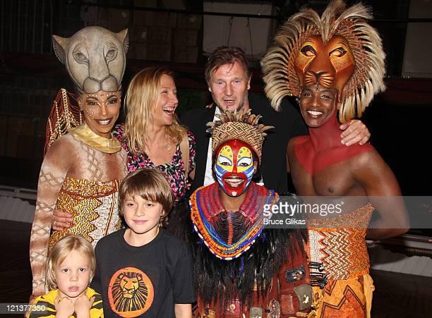 Chauntee Schuler as Nala Freya St Johnston with her children boyfriend Liam Neeson Tshidi Manye as Rafiki and Clifton Oliver as Simba pose backstage...