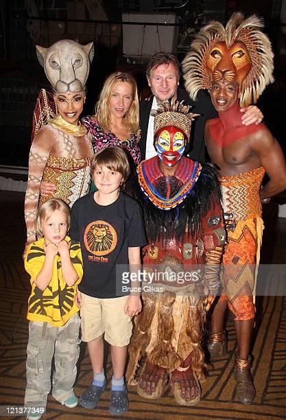 Chauntee Schuler as Nala Tshidi Manye as Rafiki Freya St Johnston with her children boyfriend Liam Neeson and Clifton Oliver as Simba pose backstage...