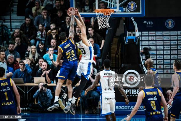 Chauvaughn Lewis of BC Kalev Cramo and Malcolm Thomas of BC Khimki are seen in action during the VTB United League game as BC Kalev Cramo lost to BC...