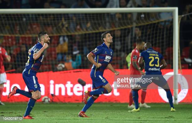 Chaves' Armenian midfielder Ghazaryan celebrates after scoring a goal during the Portuguese league footbal match between GD Chaves and SL Benfica at...