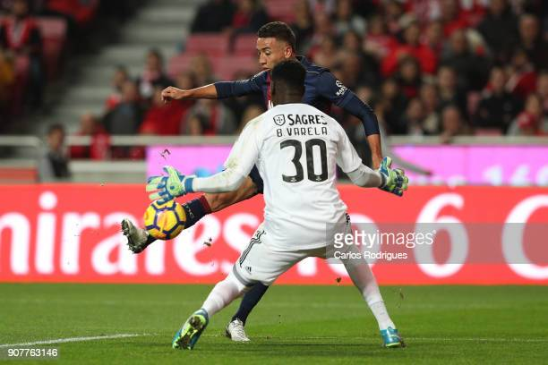 Chaves forward Davidson from Brazil tries to beat Benfica's goalkeeper Bruno Varela from Portugal during the match between SL Benfica and GD Chaves...