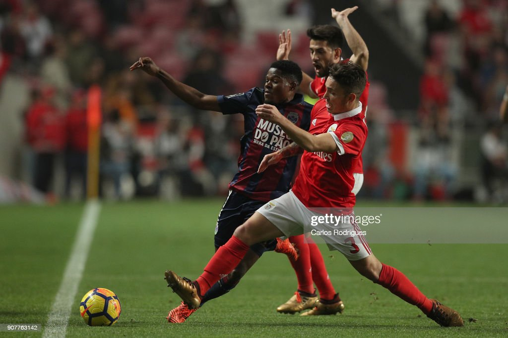 GD Chaves forward Jorge Intima from Portugal (L) vies with Benfica's defender Alejandro Grimaldo from Spain (R) for the ball possession during the match between SL Benfica and GD Chaves for the Portuguese Primeira Liga at Estadio da Luz on January 20, 2018 in Lisbon, Portugal.
