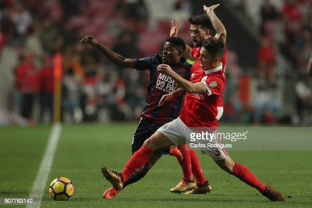 Chaves forward Jorge Intima from Portugal vies with Benfica's defender Alejandro Grimaldo from Spain for the ball possession during the match between...