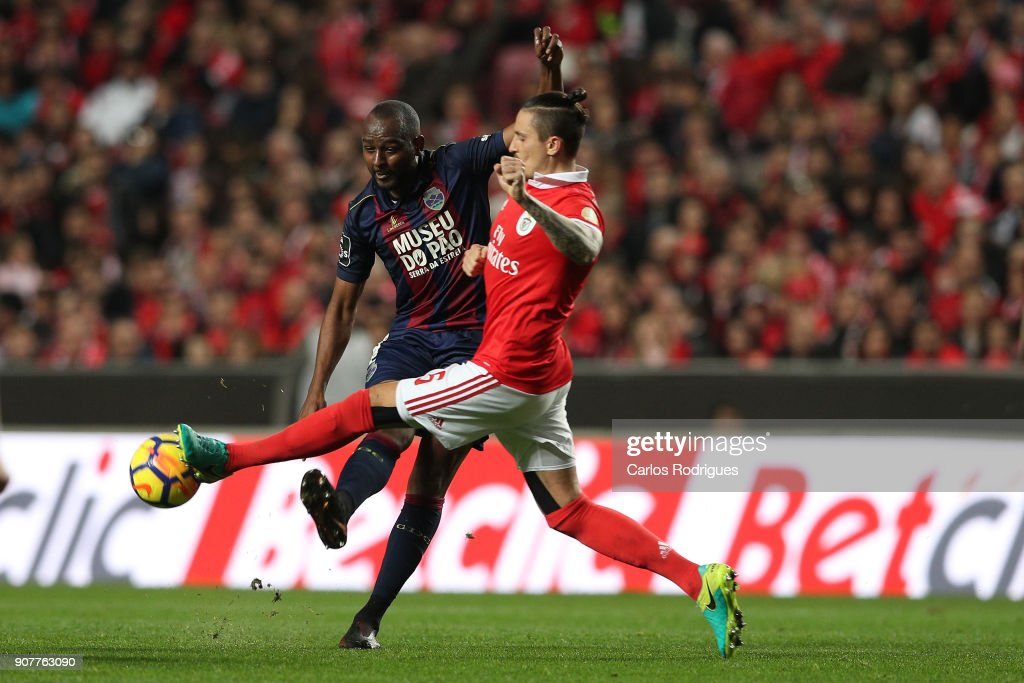 GD Chaves midfielder Jefferson Santos from Brazil (L) vies with Benfica's midfielder Ljubomir Fejsa from Serbia (R) for the ball possession during the match between SL Benfica and GD Chaves for the Portuguese Primeira Liga at Estadio da Luz on January 20, 2018 in Lisbon, Portugal.