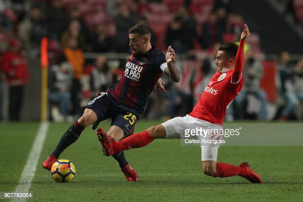 Chaves midfielder Pedro Tiba from Portugal vies with Benfica's forward Franco Cervi from Argentina for the ball possession during the match between...