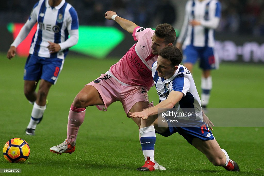 Chaves Paulinho with Porto's Portuguese midfielder Diogo Jota during the Premier League 2016/17 match between FC Porto and GD Chaves, at Dragao Stadium in Porto on December 19, 2016.