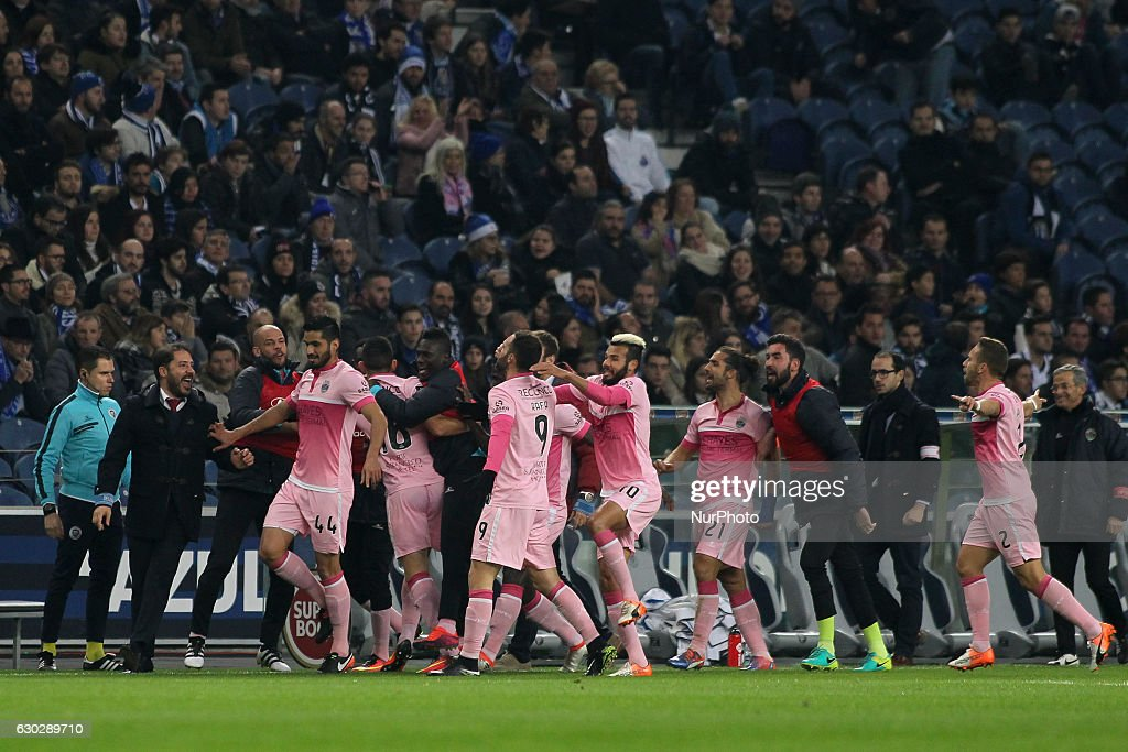 Chaves player Rafael Lopes celebrates after scoring goal with teammate during the Premier League 2016/17 match between FC Porto and GD Chaves, at Dragao Stadium in Porto on December 19, 2016.