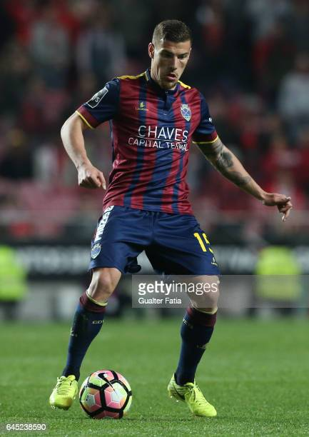 Chaves's forward Pedro Tiba from Portugal in action during the Primeira Liga match between SL Benfica and GD Chaves at Estadio da Luz on February 24...