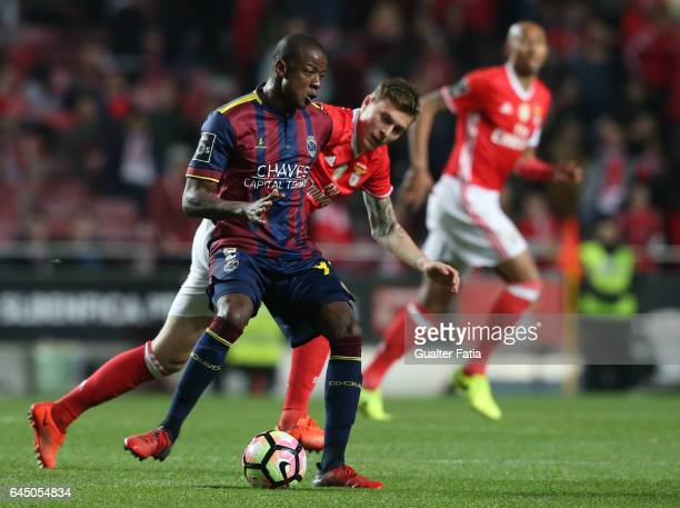 Chaves's forward William Oliveira from Brazil with SL Benfica's defender from Sweden Victor Lindelof in action during the Primeira Liga match between...