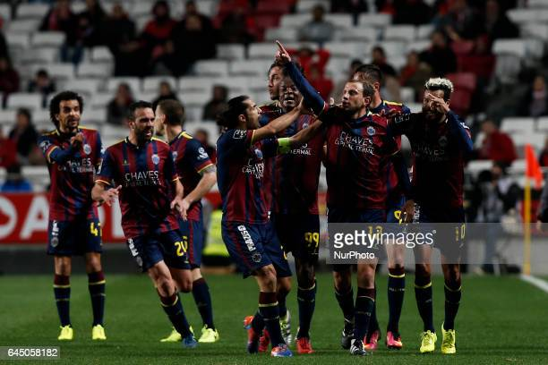 Chaves's midfielder Renan Bressan celebrates his goal with his teammates during Premier League 2016/17 match between SL Benfica vs GD Chaves in...