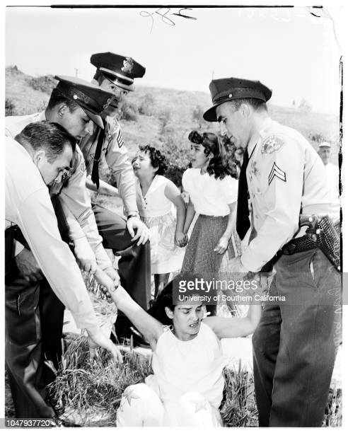 Chavez Ravine evictions 8 May 1959 Mrs Aurora VargasMrs Glen WaltersRachel ColonLucille ArechigaCaption slip reads 'Photographer Snow Assignment...