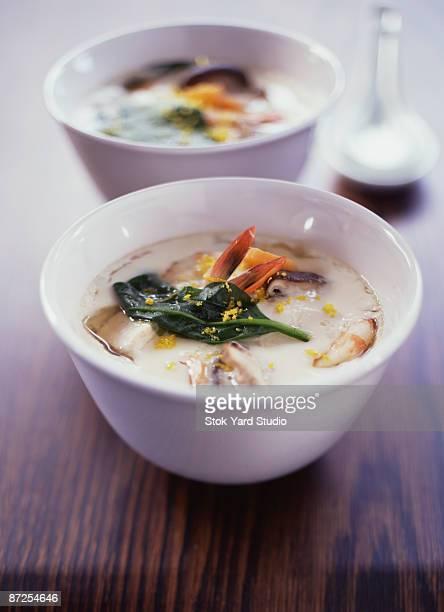 chawan mushi or japanese savory custard with shrimp and mushrooms - chawanmushi stock pictures, royalty-free photos & images