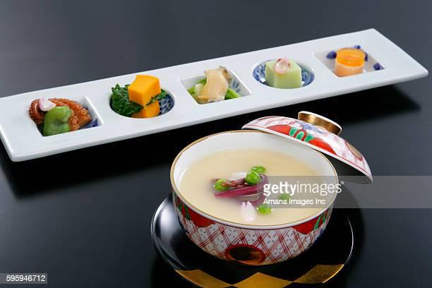 chawan-mushi and appetizer - chawanmushi stock pictures, royalty-free photos & images