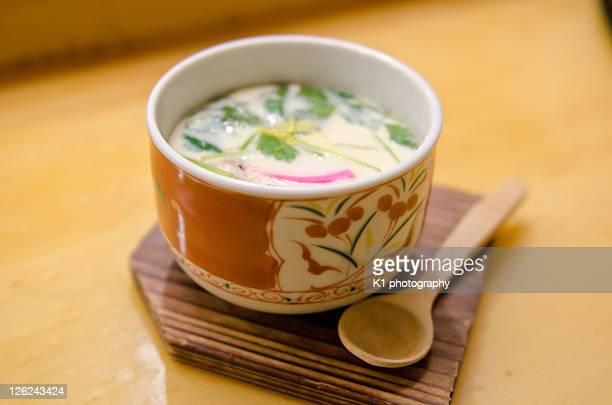 chawanmushi japanese egg custard - chawanmushi stock pictures, royalty-free photos & images