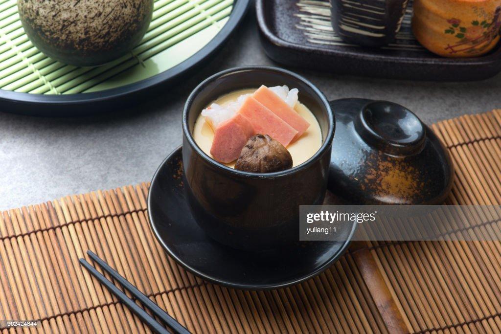 chawanmushi, steamed egg custard, japanese food : Stock Photo