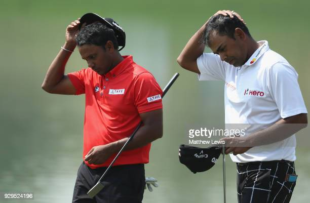 P Chawrasia and Anirban Lahiri of India look on after their round during day two of the Hero Indian Open at Dlf Golf and Country Club on March 9 2018...
