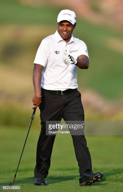 Chawrasia of India celebrates his win on the 18th hole during the final round of the Hero Indian Open at Dlf Golf and Country Club on March 12, 2017...