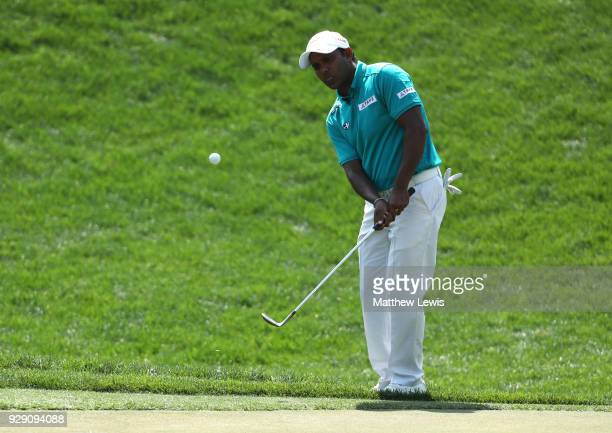 Chawrasia of India chips onto the 4th green during day one of the Hero Indian Open at Dlf Golf and Country Club on March 8 2018 in New Delhi India
