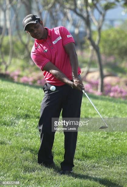 P Chawrasia of India chips onto the 9th green during a practice round ahead of the Hero Indian Open at Dlf Golf and Country Club on March 7 2018 in...