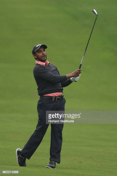 Chawrasia of India hits his second shot on the 4th hole during the first round of the BMW PGA Championship at Wentworth on May 24 2018 in Virginia...