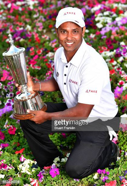 Chawrasia of India holds the winners trophy after final round of the Hero Indian Open at Dlf Golf and Country Club on March 12, 2017 in New Delhi,...