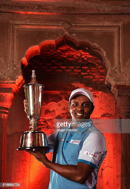 Chawrasia of India holds the winners trophy after the final round of the Hero Indian Open at Delhi Golf Club on March 20, 2016 in New Delhi, India.