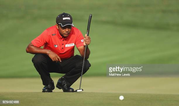 P Chawrasia of India lines up a putt on the 12th green during day two of the Hero Indian Open at Dlf Golf and Country Club on March 9 2018 in New...