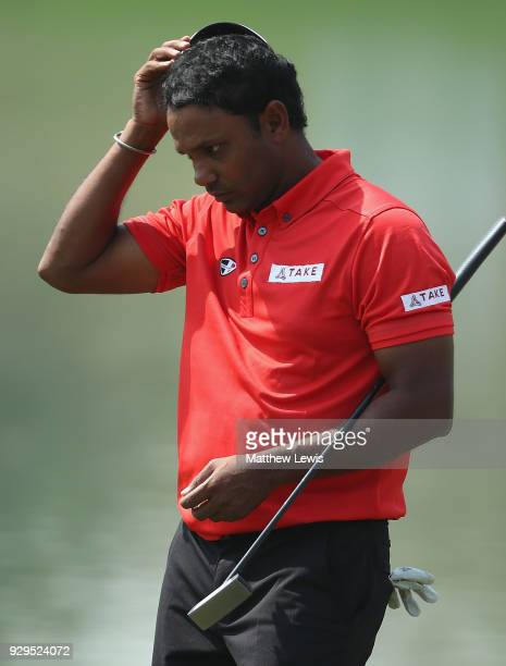 P Chawrasia of India looks on after his round during day two of the Hero Indian Open at Dlf Golf and Country Club on March 9 2018 in New Delhi India