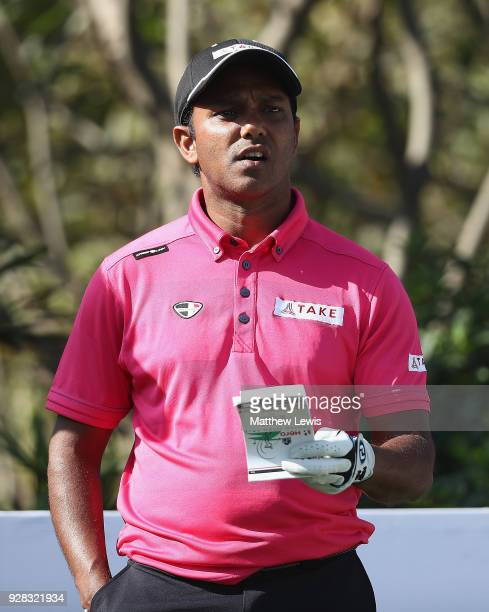P Chawrasia of India looks on during a practice round ahead of the Hero Indian Open at Dlf Golf and Country Club on March 7 2018 in New Delhi India