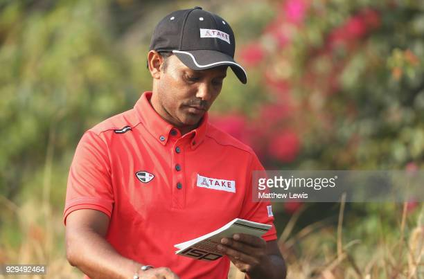 P Chawrasia of India looks on during day two of the Hero Indian Open at Dlf Golf and Country Club on March 9 2018 in New Delhi India