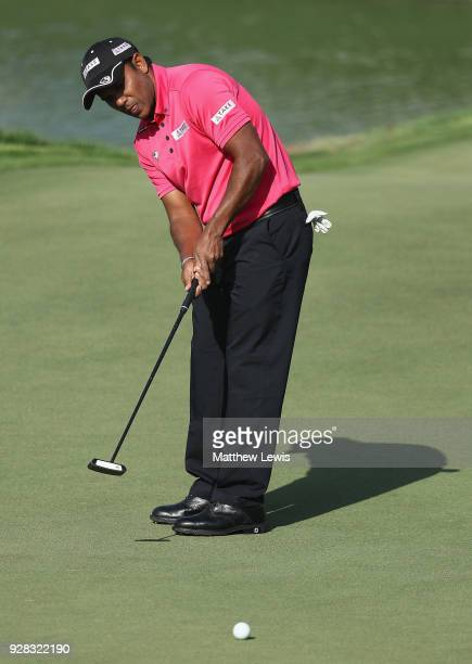 P Chawrasia of India makes a putt on the 9th green during a practice round ahead of the Hero Indian Open at Dlf Golf and Country Club on March 7 2018...