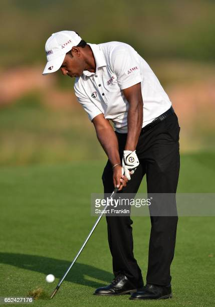 Chawrasia of India plays a shot during the final round of the Hero Indian Open at Dlf Golf and Country Club on March 12, 2017 in New Delhi, India.