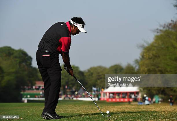 Chawrasia of India plays a shot during the third round of the Hero India Open Golf at Delhi Golf Club on February 21, 2015 in New Delhi, India.