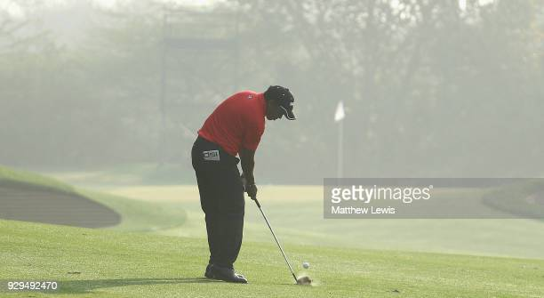 P Chawrasia of India plays his second shot on the 13th hole during day two of the Hero Indian Open at Dlf Golf and Country Club on March 9 2018 in...