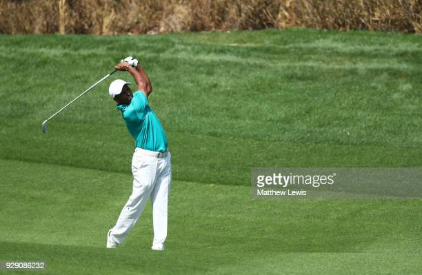 Chawrasia of India plays his third shot on the 4th hole during day one of the Hero Indian Open at Dlf Golf and Country Club on March 8 2018 in New...
