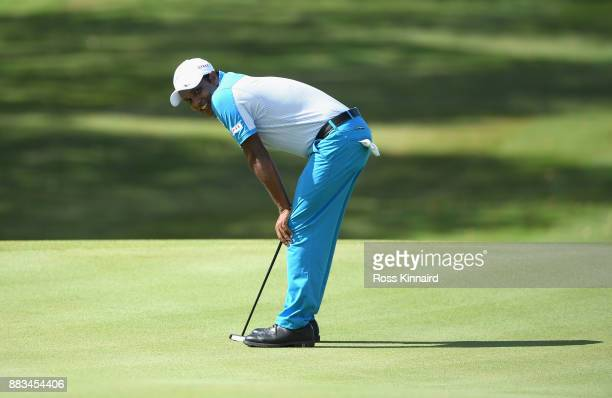 Chawrasia of India putts on the 14th during day two of the AfrAsia Bank Mauritius Open at Heritage Golf Club on December 1 2017 in Bel Ombre Mauritius