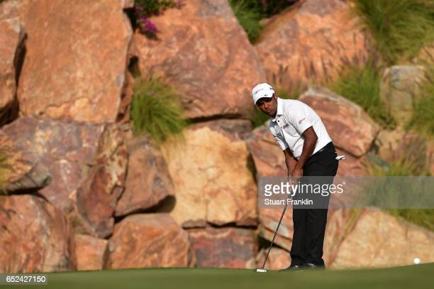 Chawrasia of India putts on the 17th hole during the final round of the Hero Indian Open at Dlf Golf and Country Club on March 12, 2017 in New Delhi,...