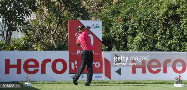 P Chawrasia of India tees off on the 10th hole during a practice round ahead of the Hero Indian Open at Dlf Golf and Country Club on March 7 2018 in...