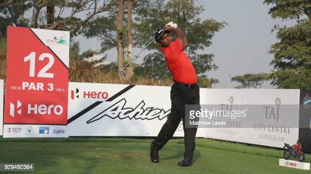 P Chawrasia of India tees off on the 12th hole during day two of the Hero Indian Open at Dlf Golf and Country Club on March 9 2018 in New Delhi India