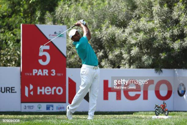 Chawrasia of India tees off on the 5th hole during day one of the Hero Indian Open at Dlf Golf and Country Club on March 8 2018 in New Delhi India