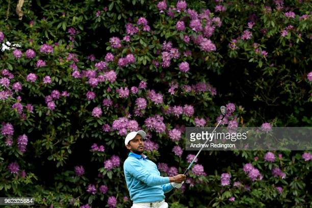 Chawrasia tees off on the seventeenth during day two of the BMW PGA Championship at Wentworth on May 25 2018 in Virginia Water England