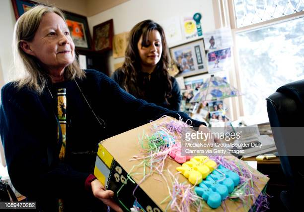 Chay Burdick of Boulder shows a replica of her peep decorations during an interview with a reporter from the Daily Camera at the Broadway Law Offices...